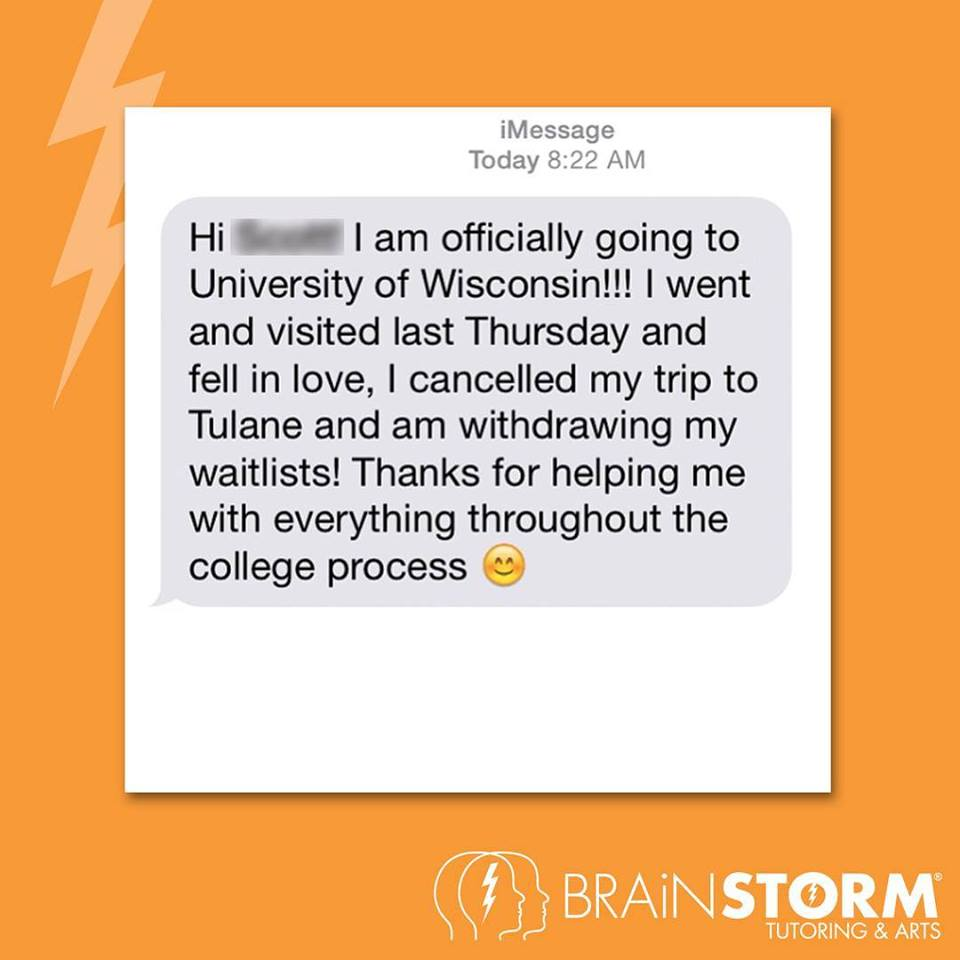 Text message from admissions prep sudent in Wall NJ