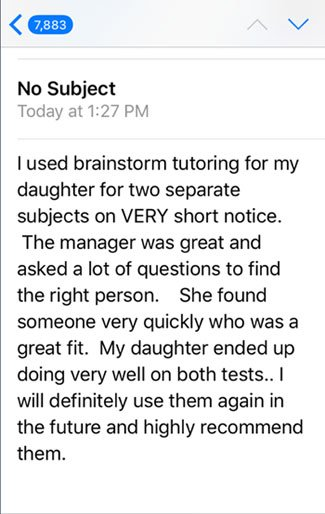 High school student score improvements after tutoring at BrainStorm